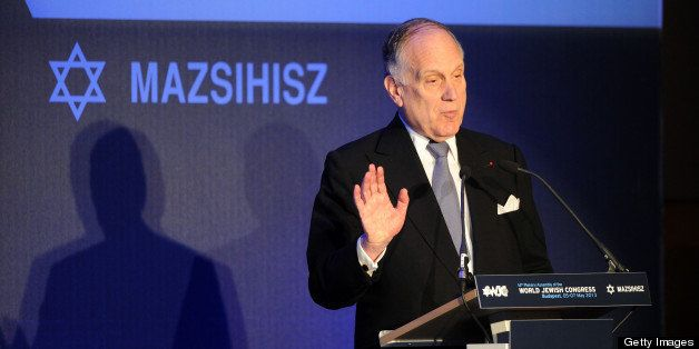 President of the World Jewish Congress (WJC) Ronald S Lauder delivers a speech in Budapest on May 6, 2013 during the second d