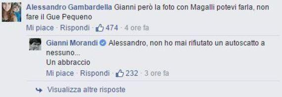 Giancarlo Magalli Vs Gianni Morandi su facebook: