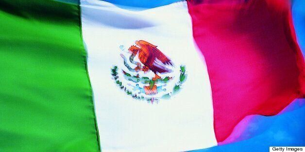 Closeup of flag of Mexico