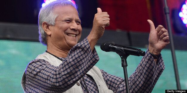 Nobel Peace Prize winner Mohammad Yunus takes part in the Global Citizen Festival, a mass music concert and event to urge wor