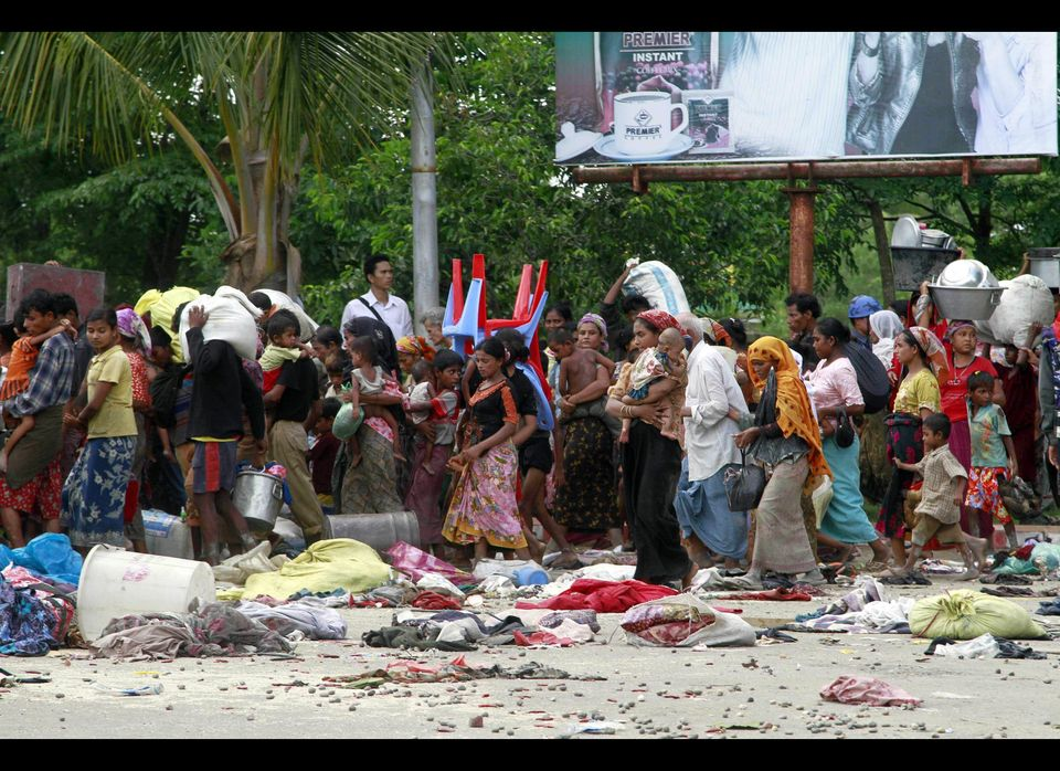 Muslims villagers are relocated to secure areas in Sittwe, the capital of Rakhine state in western Myanmar, where sectarian v