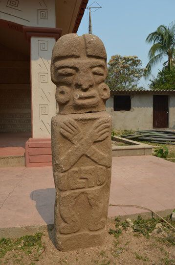 This photo handout shows a statue discovered by villagers in the Piedra Labrada site in Mexico. (INAH)
