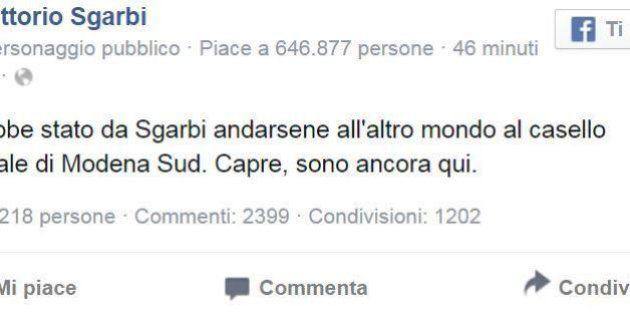 Vittorio Sgarbi sta bene e lo fa sapere a suo modo su Facebook: