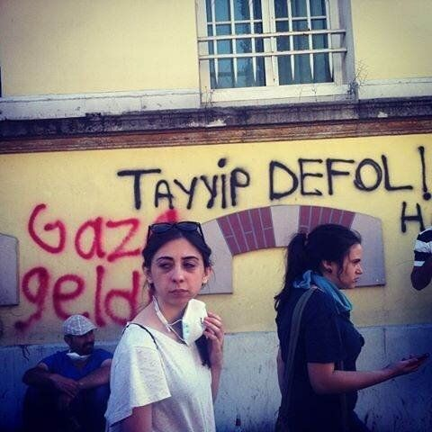 Gülben, who attended the protests, sends this photo. The graffiti bears anti-Erdogan and anti-police messages.