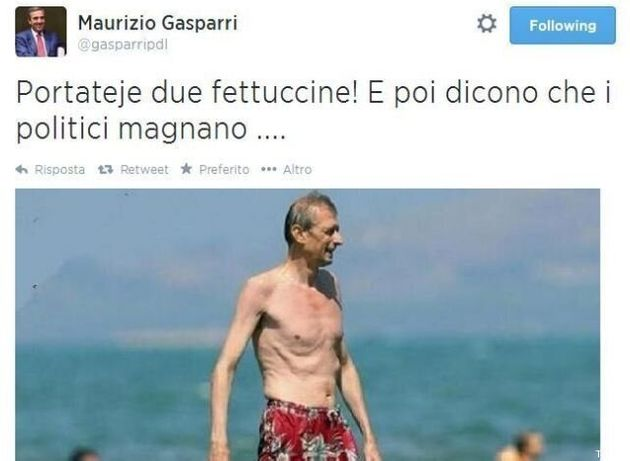 Piero Fassino al mare, Maurizio Gasparri su twitter:
