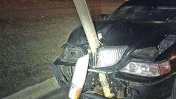 Questo automobilista (ubriaco) ha guidato con un albero piantato nel