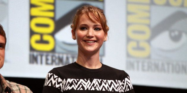 Jennifer Lawrence speaking at the 2013 San Diego Comic Con International, for