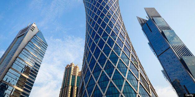 huge office buildings at downtown doha, qatar.