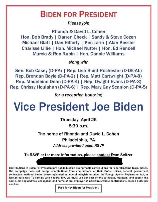 An invite to a fundraiser for former Vice President Joe Biden's presidential campaign in Philadelphia on April 25.