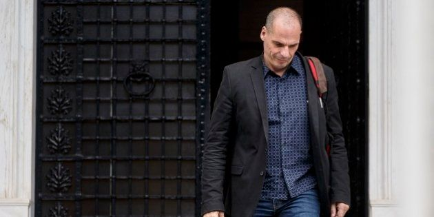 FILE - In this photo taken on Sunday, June 28, 2015, Greek Finance Minister Yanis Varoufakis leaves Maximos...