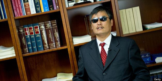 Chen Guangcheng, Chinese human rights activist, during an interview with AFP April 9, 2013 in Washington, DC. Chen, the most