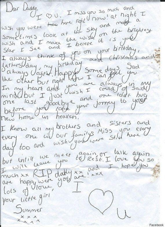 La lettera di una figlia al padre morto trovata nel parcheggio di un pub: