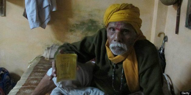 MADHYA PRADESH, INDIA - NOVEMBER 26: Niranjan Lal Pathak, 85, an Alzhiemer's Disease patient was tested for a placebo-contro