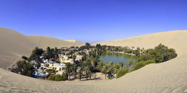 Panorama of Huacachina Oasis near Ica