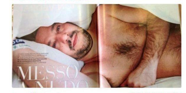 Matteo Salvini nudo sul letto: l'immagine dell' uomo coccolone e inoffensivo