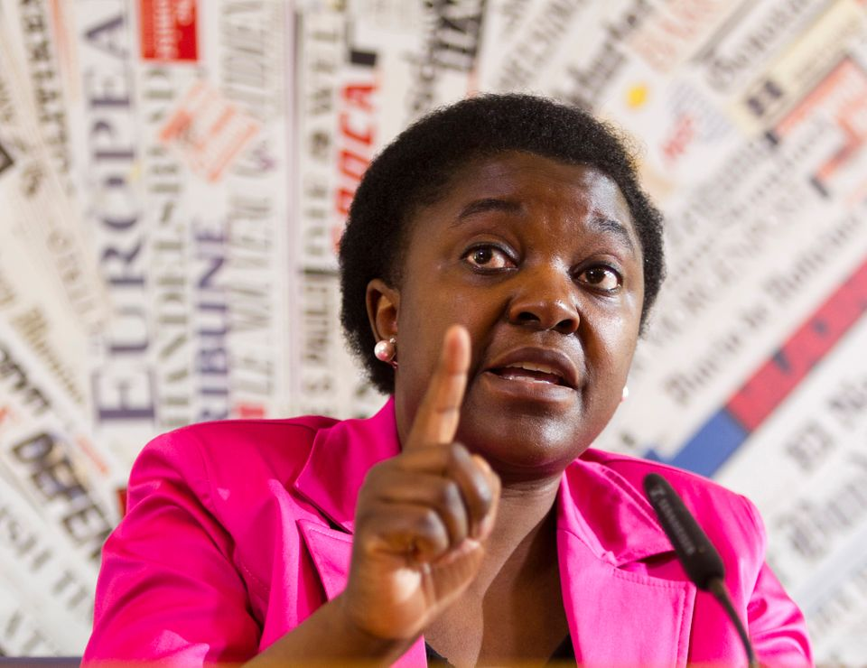 In this file photo taken on June 19 2013, Italian Integration Minister Cecile Kashetu Kyenge listens to a question during a p