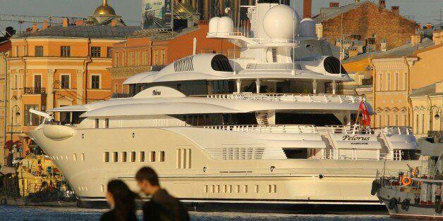 St petersburg, russia, june 4, 2008, russian multi-billionaire roman abramovich's pelorus yacht is moored beside english emba