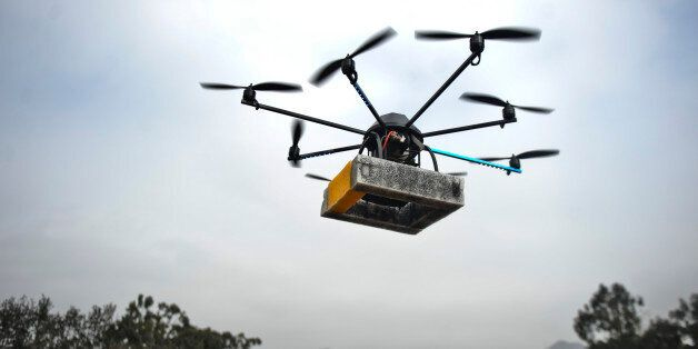 A drone (unmanned vehicle) flies in Lima on July 10, 2013. This control remote vehicles, popularly known as 'drones', begin t