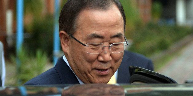 UN Secretary-General Ban Ki-moon leaves the Islamabad College for Girls in Islamabad on August 13, 2013. UN chief Ban Ki-moon