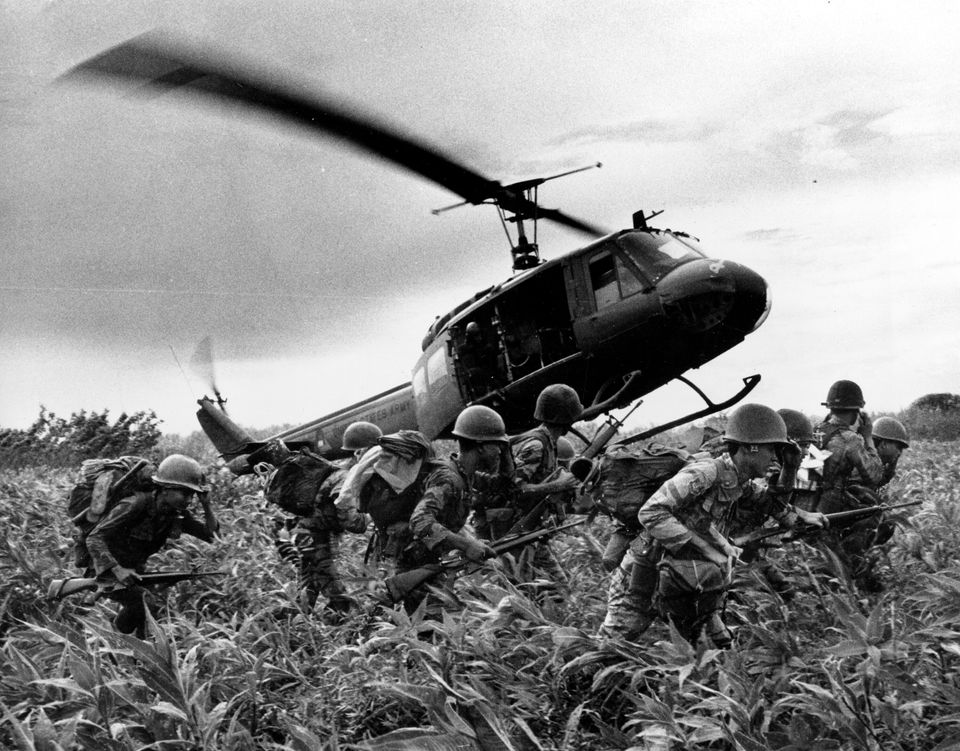 "In this June 1970 file photo, taken by Associated Press photographer Huynh Cong ""Nick"" Ut, south Vietnamese Marines rush to t"