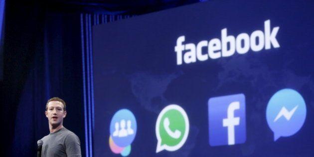 Facebook CEO Mark Zuckerberg speaks during his keynote address at Facebook F8 in San Francisco, California...