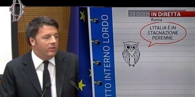 Matteo Renzi alla conferenza di fine anno presenta le slide con i gufi: su twitter l'ironia per la fissa...