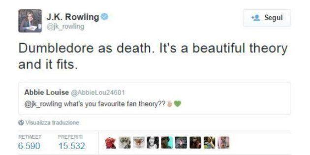 Harry Potter: J. K. Rowling rivela con un tweet la teoria dei fan che preferisce sui personaggi della