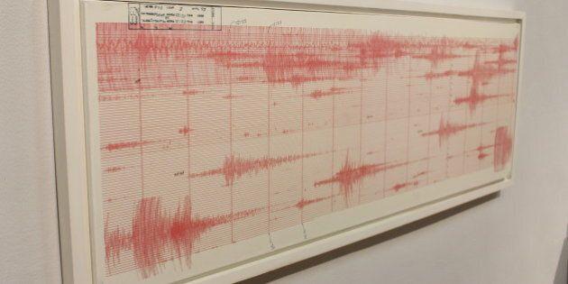 Hoja de sismógrafo original del sismo del 19 de septiembre de 1985. UNAM.Museo de la Ciudad de México,...