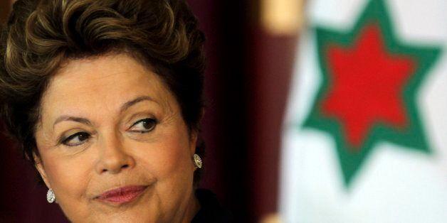 BRASILIA, BRAZIL - JANUARY 23:  (BRAZIL OUT) Brazilian president Dilma Rousseff looks on during the ceremony for new ambassad