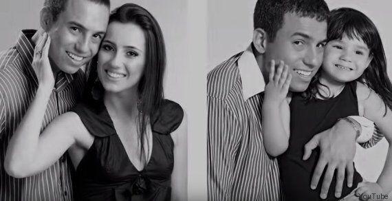 Rafael e la figlia nella stessa posa delle foto di fidanzamento per ricordare la madre morta in un incidente...