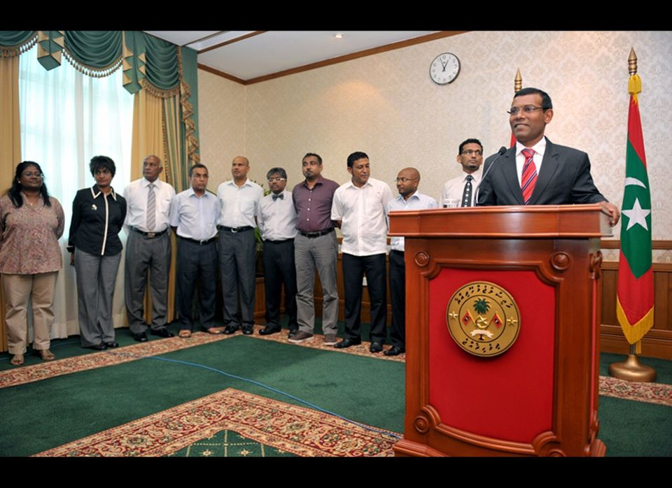 In this photo provided by the President's Office, Maldives President Mohamed Nasheed announces his resignation in a nationall