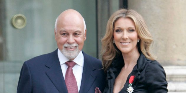Canadian singer, Celine Dion, right, poses with her husband René Angelil, left, at the Elysee palace...