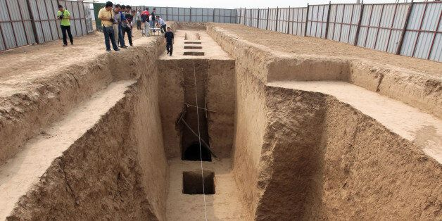 This picture taken on September 11, 2013 shows the tomb of Shangguan Wan'er -- a 7th-century female politician who was one of