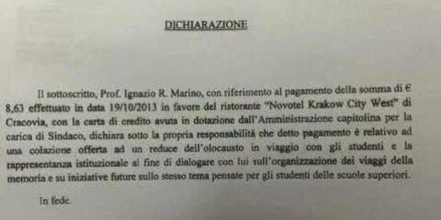 Ignazio Marino pagò con la carta del Campidoglio la colazione a un reduce dell'Olocausto. Lo scontrino...