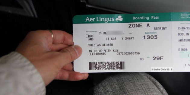 Because I wasn't able to check-in electronically at Dublin, I lined up for a real check-in agent, and...