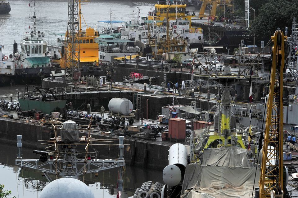 A general view is seen inside the Naval Dockyard in Mumbai on August 14, 2013. (INDRANIL MUKHERJEE/AFP/Getty Images)