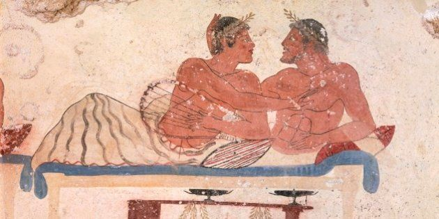 Symposium scene, ca 480-490 BC, decorative fresco from the north wall of the Tomb of the Diver at Paestum,...