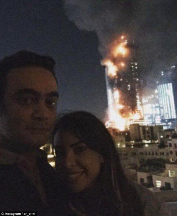 Incendio a Dubai a Capodanno, una coppia si scatta una foto davanti all'inferno e la pubblica su Instagram:...