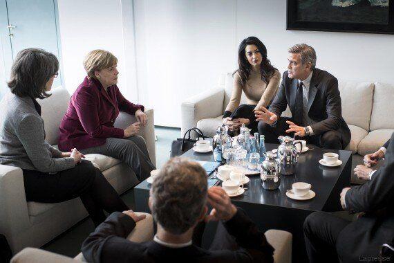 Migranti, Angela Merkel George Clooney e Amal Alamuddin: un caffè per parlare delle politiche sui