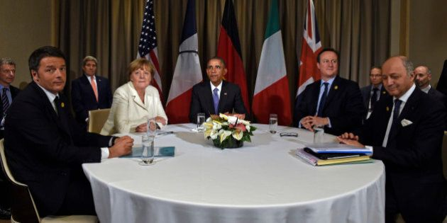 President Barack Obama meets with, from left, Italian Prime Minister Matteo Renzi, German Chancellor...