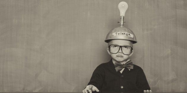 This young boy just can't think of the next big idea.