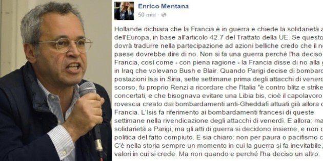 Enrico Mentana dice no all'intervento militare al fianco della Francia: