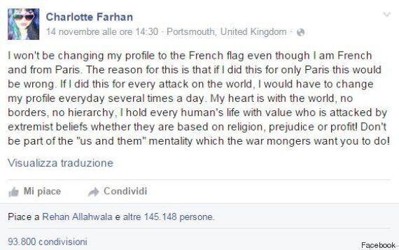 Charlotte Farhan, giovane francese, non cambia la foto profilo di Facebook con la bandiera:
