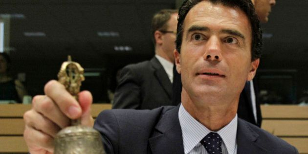 Italian State Secretary for European Affairs and President of the EU Council Sandro Gozi rings the bell...