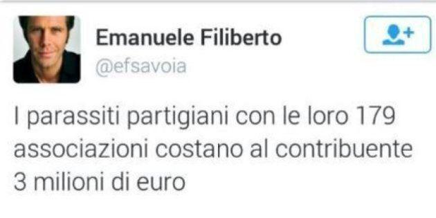 Emanuele Filiberto twitta contro i