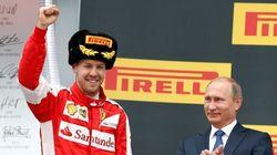 Putin si congratula con Vettel ed Hamilton dopo il GP di Russia
