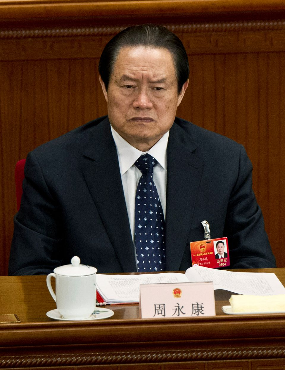 In this March 11, 2012 file photo, Zhou Yongkang, then Chinese Communist Party Politburo Standing Committee member in charge