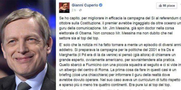 Gianni Cuperlo scherza su Facebook sul nuovo consulente Pd per la Comunicazione Jim Messina e lo paragona...
