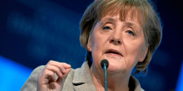 DAVOS/SWITZERLAND, 28JAN11 - Angela Merkel, Federal Chancellor of Germany, speaks during the session...