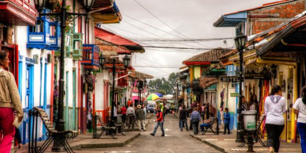 Street in Salento, in Quindio, Colombia.Salento is a very nice town in the coffee region of Colombia,...
